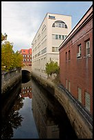 Downtown buildings bordering Kenduskeag stream. Bangor, Maine, USA ( color)