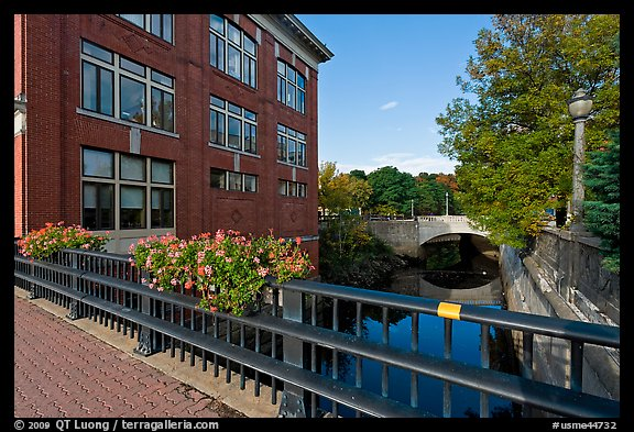 Parks and bridges over Kenduskeag stream. Bangor, Maine, USA