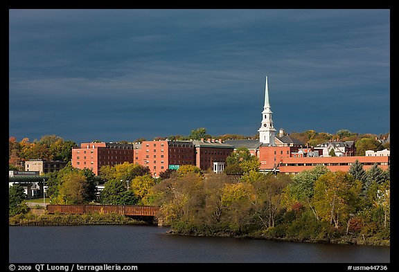 Penobscot River and downtown with storm clouds. Bangor, Maine, USA (color)