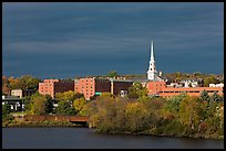 Penobscot River and downtown with storm clouds. Bangor, Maine, USA ( color)