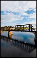 Railway bridge crossing Penobscot River. Bangor, Maine, USA ( color)