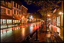 Main street at night. Bar Harbor, Maine, USA