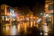 Street corner on rainy night. Bar Harbor, Maine, USA
