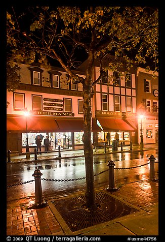 Sherman's bookstore, oldest in Maine, at night. Bar Harbor, Maine, USA (color)