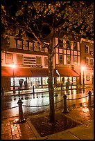 Sherman's bookstore, oldest in Maine, at night. Bar Harbor, Maine, USA