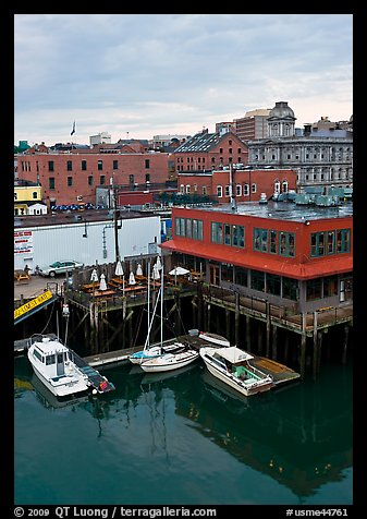 Boats, harbor, and historic buildings. Portland, Maine, USA (color)