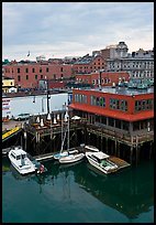 Boats, harbor, and historic buildings. Portland, Maine, USA ( color)