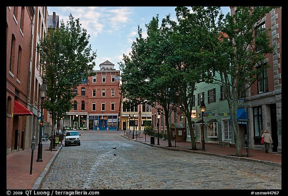 Street with cobblestone pavement. Portland, Maine, USA (color)