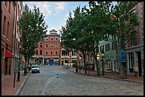 Street with cobblestone pavement. Portland, Maine, USA ( color)