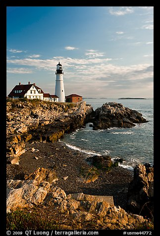 Portland Headlight, Cape Elizabeth. Portland, Maine, USA (color)