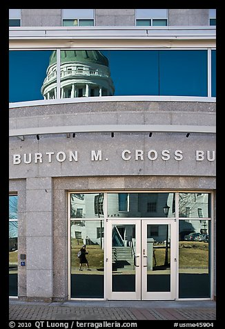 Capitol reflected in Burton Cross Building. Augusta, Maine, USA (color)