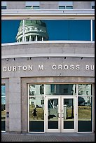 Capitol reflected in Burton Cross Building. Augusta, Maine, USA