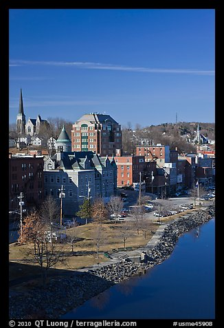 Churches and brick buildings. Augusta, Maine, USA (color)