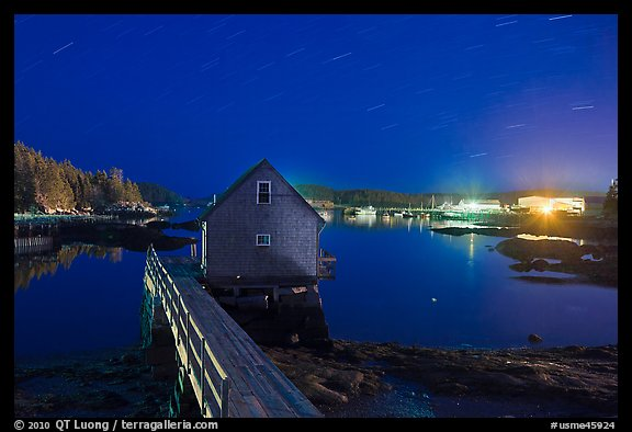 Lobster shack by night. Stonington, Maine, USA (color)