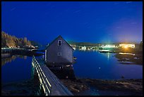 Lobster shack by night. Stonington, Maine, USA