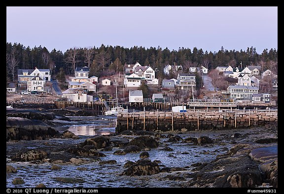 Harbor at low tide, dawn. Stonington, Maine, USA (color)