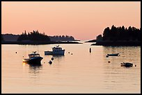 Boats and Penobscot Bay islets, sunrise. Stonington, Maine, USA ( color)