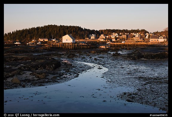 Tidal flats and houses, sunrise. Stonington, Maine, USA (color)