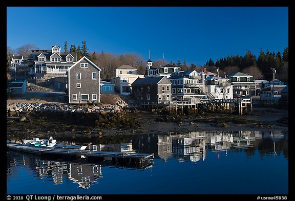 Waterfront in early morning. Stonington, Maine, USA (color)
