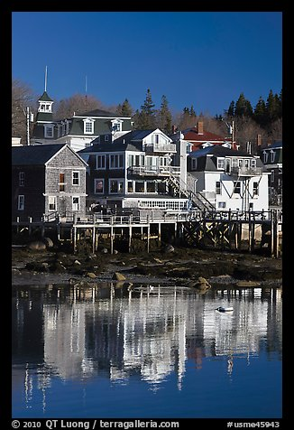 Houses and reflections. Stonington, Maine, USA (color)