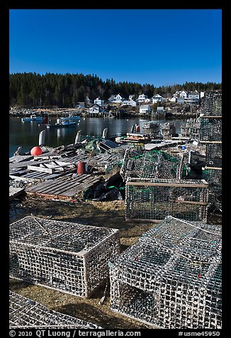 Lobster traps. Stonington, Maine, USA (color)