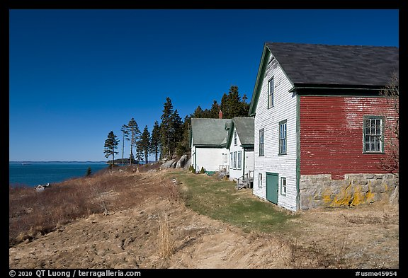 Historic houses and Penobscot Bay. Stonington, Maine, USA (color)