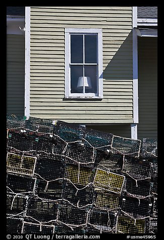 Lobster traps and window. Stonington, Maine, USA (color)