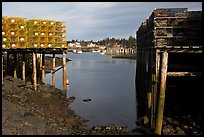 Lobster traps framing harbor. Corea, Maine, USA ( color)
