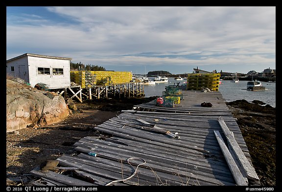 Deck, lobster traps, and harbor. Corea, Maine, USA (color)