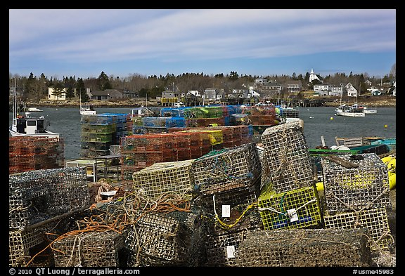 Lobster traps and village. Corea, Maine, USA