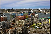 Lobster traps and village. Corea, Maine, USA ( color)