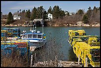 Lobster traps and boat. Corea, Maine, USA ( color)