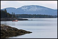 Frenchman Bay with snow-covered Cadillac Mountain in winter. Maine, USA
