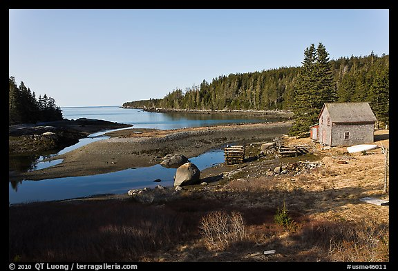 Schacks and inlet. Isle Au Haut, Maine, USA (color)