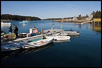 Small boats, harbor and village. Isle Au Haut, Maine, USA (color)