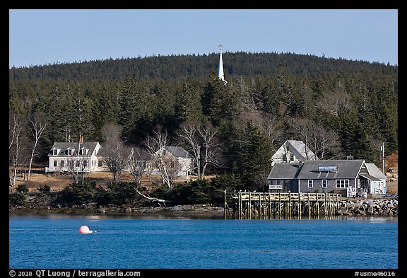 General store and church steeple. Isle Au Haut, Maine, USA (color)