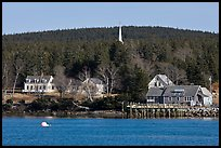 General store and church steeple. Isle Au Haut, Maine, USA ( color)
