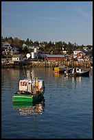 Traditional lobster boats and houses, late afternoon. Stonington, Maine, USA ( color)