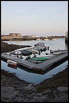 Small boats and harbor at sunset. Stonington, Maine, USA ( color)