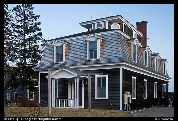 Historic house in federal style. Stonington, Maine, USA (color)