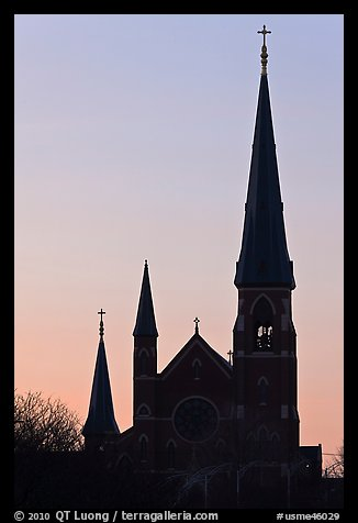 Cathedral spires backlit at dawn. Portland, Maine, USA (color)