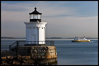 Bug Light and ferry. Portland, Maine, USA (color)