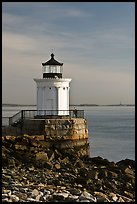 Bug Light with boy running. Portland, Maine, USA ( color)