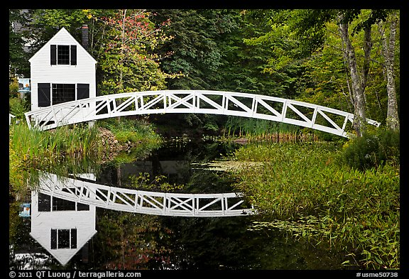 White wooden house and bridge, Somesville. Maine, USA (color)