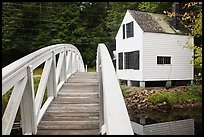 Wooden arched footbridge and house. Maine, USA (color)