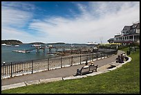 Shore path and harbor. Bar Harbor, Maine, USA (color)
