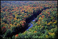 River and trees in autumn colors, Porcupine Mountains State Park. Upper Michigan Peninsula, USA (color)