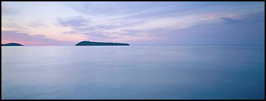 Dawn lakescape, Lake Superior. Minnesota, USA (Panoramic color)