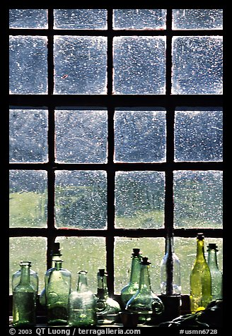 Window in the Kitchen building, Grand Portage National Monument. Minnesota, USA (color)