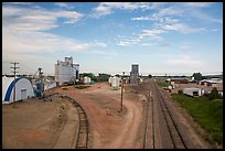 Railroad, grain elevator, and fertilizer plant, Bowman. North Dakota, USA ( color)
